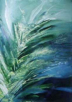 green abstract - oils on oil paper