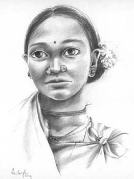 bastar beauty. Pencil drawing on paper
